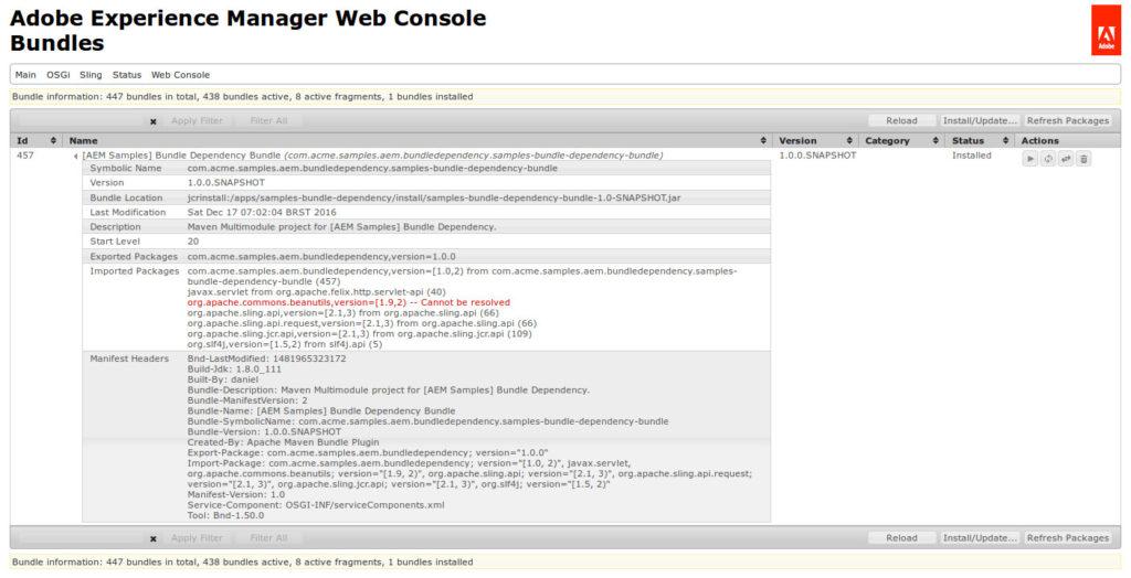 AEM Web Console - Bundle - Dependência não pôde ser resolvida